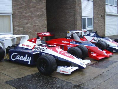 One Lola-Hart and two Toleman-Hart F1 cars
